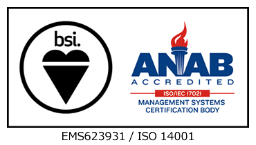 (BSI group japan) ISO14001 Certification Mark (Holds Certificate No:EMS623931)